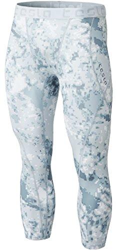 TSLA Men's 3/4 Compression Pants, Running Workout Tights, Cool Dry Capri Athletic Leggings, Yoga Gym Base Layer, Athletic Capris Pixel Camo Grey, Large