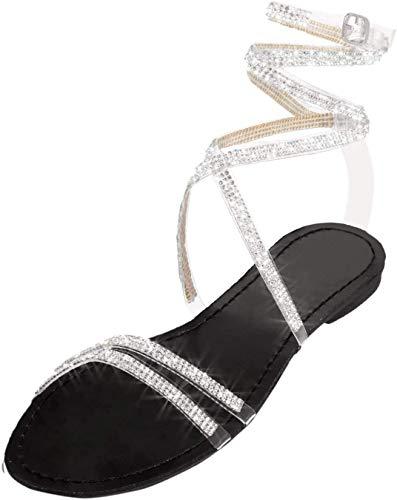 Hallelujah Glitzernde Sandalen für Damen, glänzende Kristall-Schnürsandalen, Knöchelriemen, flache Sandalen, Strass, Riemchen, flache Sandalen, schwarz, 41