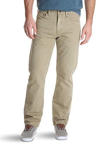Wrangler Authentics Men's Classic 5-Pocket Relaxed Fit Jean, Khaki Flex, 38W x 30L