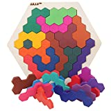 Foreen Wooden Colorful Hexagon Tangrams Puzzles Table IQ Game Educational Kids Toy Best Gift for Children Large 14Pcs