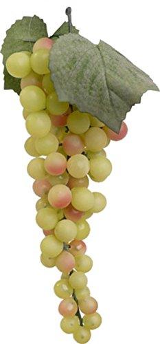 Shophaus24 Künstlicher Weintrauben Strang mit grünen Weinbeeren und 2 Blättern. Länge 28cm