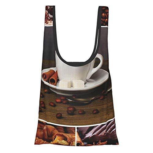 Hdaw Taza con diseño de café y chocolate, diseño de canela, dulces, cacao, sabroso, delicioso, bocadillos marrón y blanco, reutilizables, bolsas de la compra ecológicas