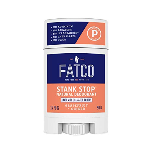 FATCO Stank Stop All Natural Deodorant with Tallow and Organic Coconut Oil – Grapefruit + Ginger (1.7 oz)