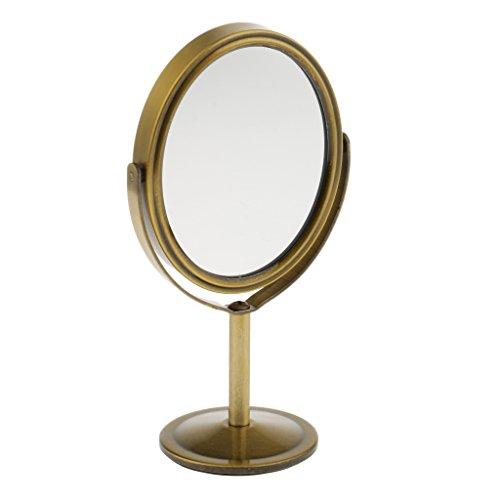 Sharplace 3 Pouces Rotatif Miroir Sur Pied à Double Face Normale et Grossissante pour Maquillage - Cadeau Femme - Bronze