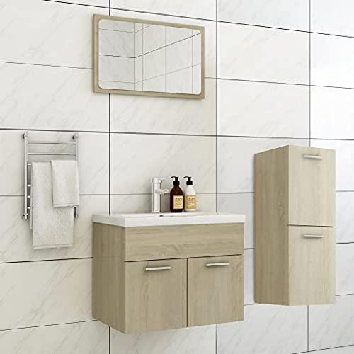 FAMIROSA Conjunto de Muebles de Baño Aglomerado Roble Sonoma-1453