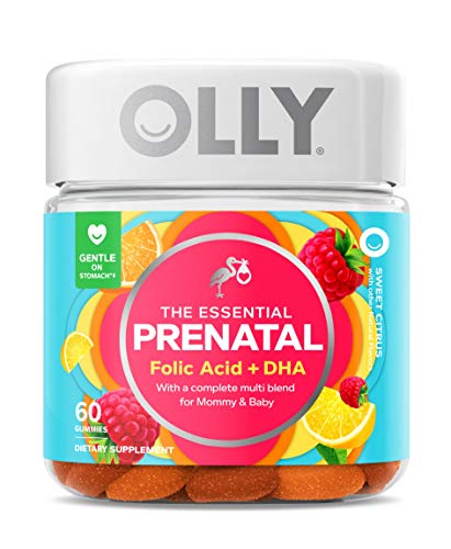OLLY The Essential Prenatal Gummy Multivitamin, 30 Day Supply (60 Gummies), Sweet Citrus, Folic Acid, Vitamin D, and Omega 3 DHA Chewable Supplement