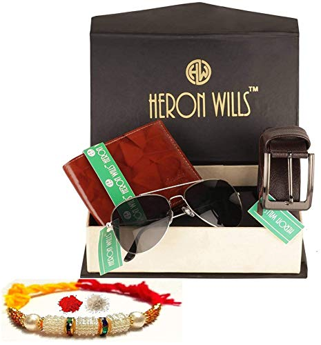 Heron Wills Genuine Leather Men Accessories Rakhi Gift Combo for Brothers | Rakhi, Wallet, Belt, Sunglasses, Gift for Brother, Best Rakhi Gift_HWCMB49A