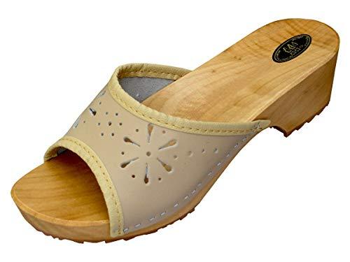 BeComfy Damen Clogs Holzschuhe Leder Holz Pantoletten mit Absatz Sandalen Bunte Farben Modell VK10 (41, Beige)