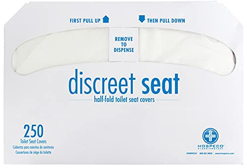 Hospeco Discreet Seat Half-Fold Toilet Seat Covers (20 Packs of 250) - DS-5000,White