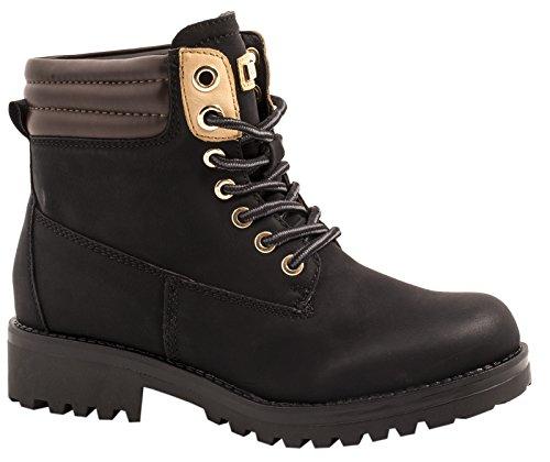 Elara Damen Stiefeletten Worker Boots Chunkyrayan ZY9208-Schwarz-38
