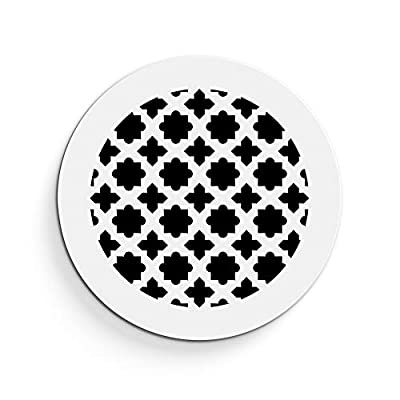 """Saba Air Vent Cover Grille - Acrylic Plexiglass 8"""" Round Duct Opening (10"""" Round Overall) White Finish Decorative Register Covers for Walls and Ceilings NOT for Floor USE, Venetian"""