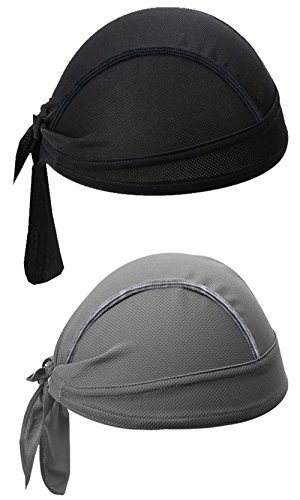 sunland Moisture Wicking cycling head wraps Breathable Beanie Hip Hop Head Scarves Caps Face Wrap Bandana Cycling Motorcycle Sports Pirate Scarf Hat UV Protection Black and Grey