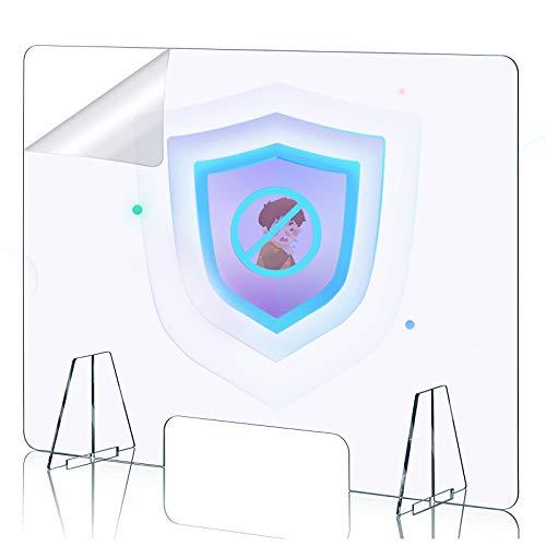 DUTISON Spuckschutz Plexiglas aus Acrylglasplatte - Spuckschutz Thekenaufsatz mit Durchreiche Aufsteller, Tischaufsatz, Tresenaufsatz - 60x60cm