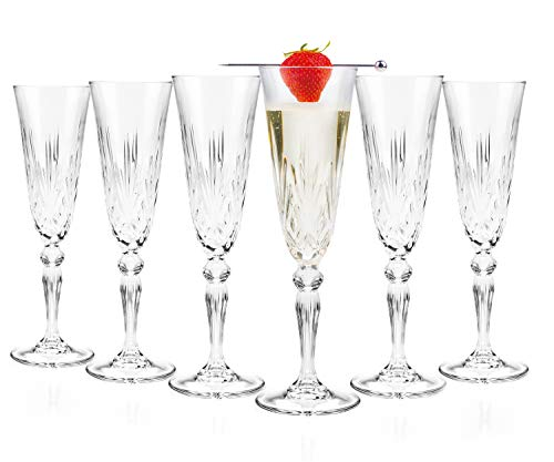 RCR 25600020006 Melodia Crystal Champagne Flute Glasses, 160 ml, Set of 6, Perfect for Parties, Newly Weds & Homeowners, Dishwasher Safe, Kristall, Klar, 6 Stück (1er Pack), 6