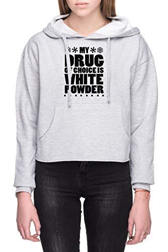 My Drug Of Choice Is White Powder Dames Crop Capuchon Sweatshirt Grijs Women's Crop Hoodie Sweatshirt Grey