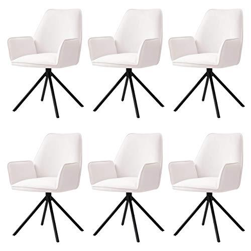 Mendler 6X Esszimmerstuhl HWC-G67, Küchenstuhl Stuhl mit Armlehne, drehbar Auto-Position - Samt, Creme-beige