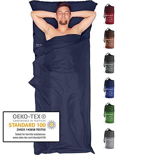 Fit-Flip Hüttenschlafsack Ultraleicht, Mikrofaser Schlafsack Inlay mit extra Kissenfach, Inlett Schlafsack seidig weich, Reiseschlafsack als auch Innenschlafsack, Dunkelblau