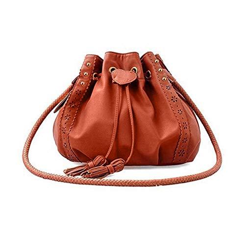 SoonerQuicker Lady Handtasche Schultertasche Tote Geldbörse Leder Damen Messenger Hobo Bags (braun)