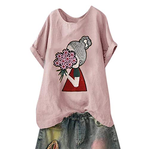Vimoli Bluse Dame Frauen Tops Baumwolle Leinen Musterdruck Übergrößen Kurzarm O-Ausschnitt Freizeit T-Shirt Ponchos