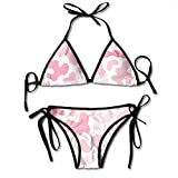 Bikini Pattern with Chaotic Spots Liquid Shapes Cute Modern Texture In Pastel Bikini Set Two Piece,Triangle Padded Cut out Swimsuit for Ladies Swimming Costume