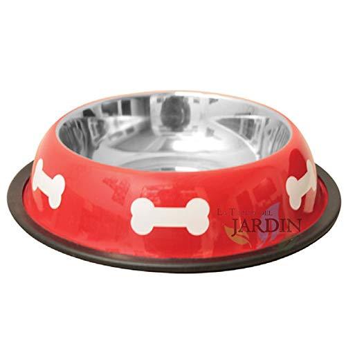 Hundekorb aus Edelstahl rot Ø 19 cm. Fassungsvermögen 0,90 Liter. Wird als Futterspender und Futtertränke für Tiere verwendet.