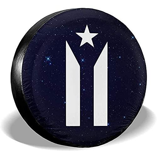 Hokdny Puerto Rico Bandera De Protesta En Blanco Y Negro Cubiertas De Llantas Cubierta De Llanta De Repuesto para Remolque De Viaje De Automóvil