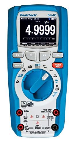 PeakTech 3440 – True RMS Digital Multimeter mit 4.0 Bluetooth & Grafik-Display, 50000 Counts, Profi-Handmultimeter, TÜV/GS, Autorange, Spannungsmesser, Durchgangsprüfer, Messgerät - CAT III 1000 V