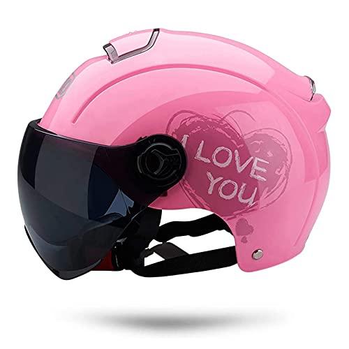 Casco Moto Abierto, Retro Cascos Moto Half Helmet Media Casco de Protección con Visera, ECE Homologado Casco Moto Jet para Scooter Mofa Crash (Color : Pink, Size : (50-64cm))