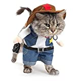 NACOCO Cowboy Dog Costume with Hat Dog Clothes Halloween Costumes for Cat and Small Dog (Medium)