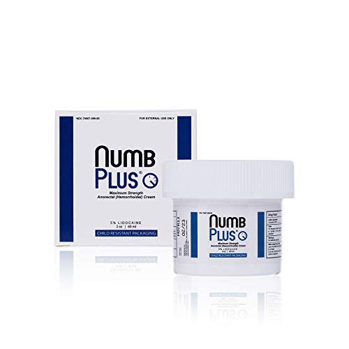 NumbPlus 5% Lidocaine Topical Anesthetic – Maximum Strength Anorectal Numbing Cream & Numbing Cream for Microneedling/Piercing/Microblading/Laser Hair Removal by Numbskin 2oz Jar
