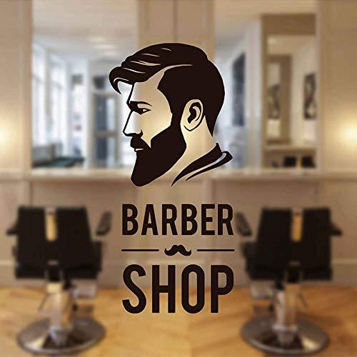 Friseur Friseursalon Studio Rasur und Haarschnitt Logo Zeichen Hipster Mode Mann Schere Wandaufkleber Vinyl Fenster Tür Aufkleber Home Decor Wandbild