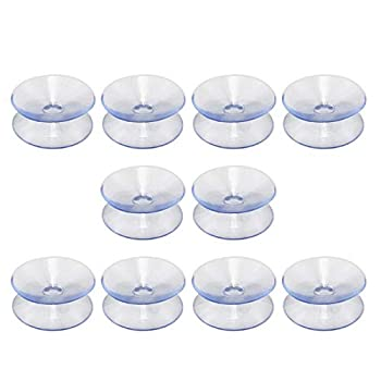 Denpetec 10Pcs Double Sided Suction Cups Slip-Proof Double Sided Sucker Pads for Glass Table Top