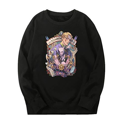 ZZAOO Jojos Bizarres Abenteuer Rundhals Sweatshirt,kira Yoshi Killer Queen Unisex EcoSmart Fleece Gedruckt Pullover-b-schwarz XL
