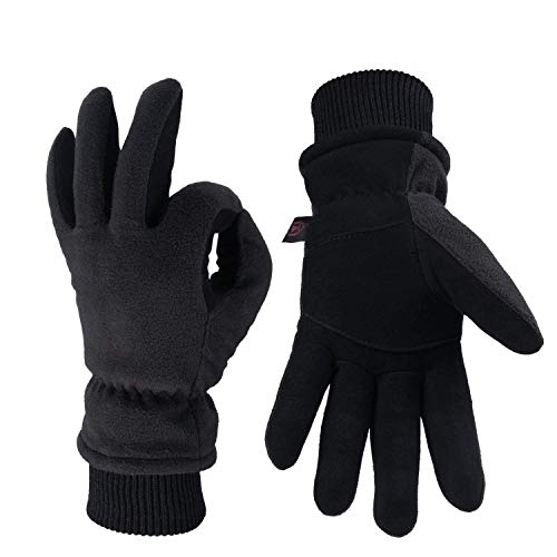 OZERO Winter Gloves,Windproof and Water Resistant Thermal Suede Leather Gloves,Men and Women