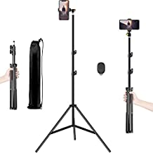 """Selfie Stick Tripod, 65"""" Extendable Tall Camera Cell Phone Tripod Stand with Bluetooth Remote for iPhone 12 11 Pro X XS XR Max SE 8 Plus Samsung Galaxy S21 S20 S10 S9 Plus Note 20 10 9 Ultra Andriod"""