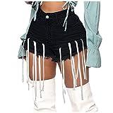 HUOJING Fringe Denim Shorts for Women Tassel Mini Short Jeans High Waist Butt-Lifting Summer Bottom Hot Pants,Black,L