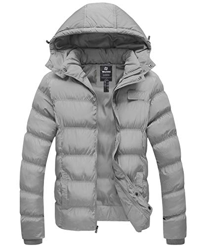 Wantdo Men's Winter Thicken Coat Puffer Jacket with Removable Hood Grey Large