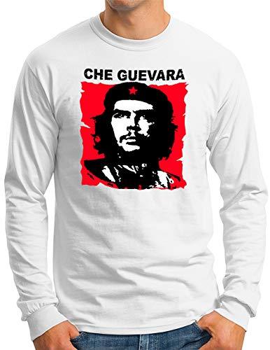 OM3® Che-Guevara Langarm Shirt | Herren | Cuba Viva La Revolution Castro Rebel | Weiß, M