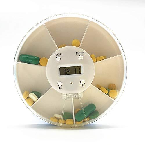 LUCKYGBY Automatischer Elektronischer Tablettenspender Mit Alarmanzeige, Zeitschaltuhr Für Wecker Mit 7 Fächern, Aufbewahrungsbox Für Pillen, Tragbare Digital Reise-Pillendose