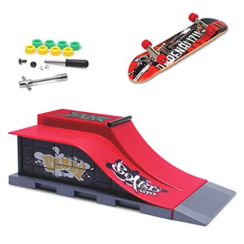 KETIEE Rampes de Skatepark, Skate Park Kit Rampe de Touche avec Mini Finger Skateboard Jouet Cadeau...