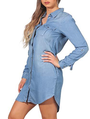 Vero Moda Vmsilla LS Short Dress Lt Bl Noos Ga Vestido, Azul (Light Blue Denim Light Blue Denim), 42 (Talla...
