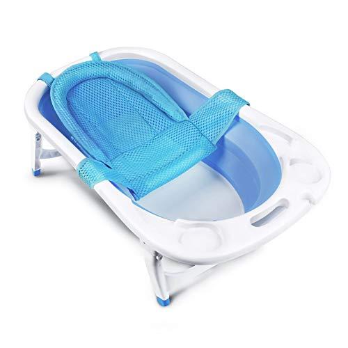 CRZDEAL Vaschetta Bagnetto Pieghevole con supporto per sedile e tappo di scarico, vasca da bagno portatile, adatta a casa o in viaggio
