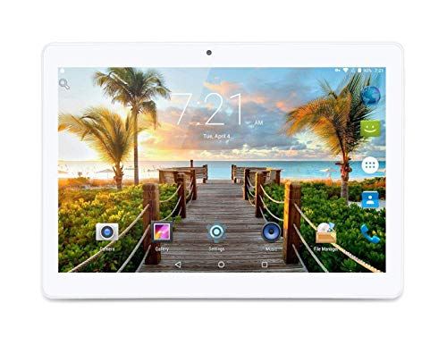 Android Tablet 10 Inch, Android 7.0 Nougat Unlocked Tablet PC, 3G Phablet with Dual SIM Card Slots, Google Certified, 4G+64GB, Dual Camera, WiFi, Bluetooth, GPS ,Netflix (Silver)