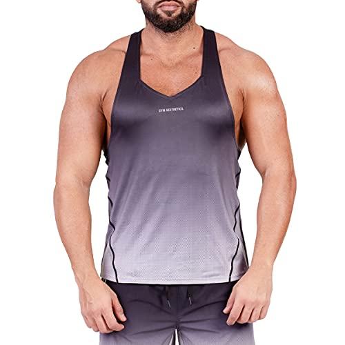 GYM AESTHETICS Camiseta de tirantes para hombre «Intensity», protección UV, antiestática, regulación de la humedad, fitness y otros deportes. Gradient -black S