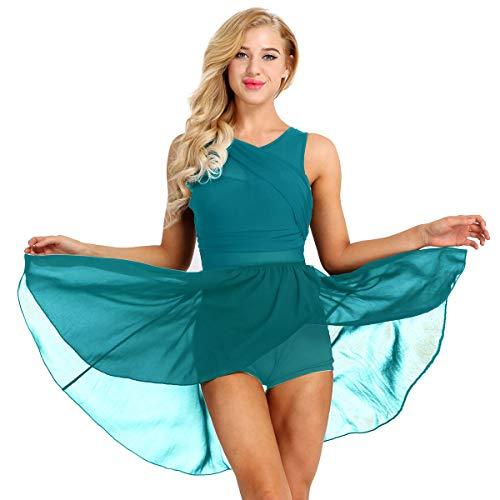 iEFiEL Damen Ballettkleid Tanzkleid mit Asymmetrisch Rock Wickelrock Tango Latein Kleider Leotard Ballettanzug Trikot Tanz-Body Gr. XS S M L XL Grün X-Small