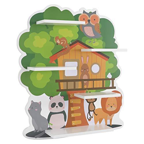 Homfa Kinderregal Baumhaus Wandregal für Kinderzimmer Regal Wandboard Schweberegal 52x11,2x58 cm