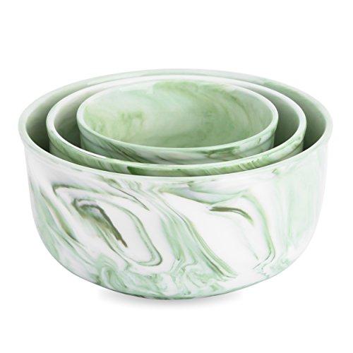 Vancasso, Porzellan Schalen Set in 3 Größe, 3 teilig Suppenschalen, Müslischalen, Dessertschalen, Durchmesser 15/12 / 9,4 cm, Spiral Marmor Dekor, Grün