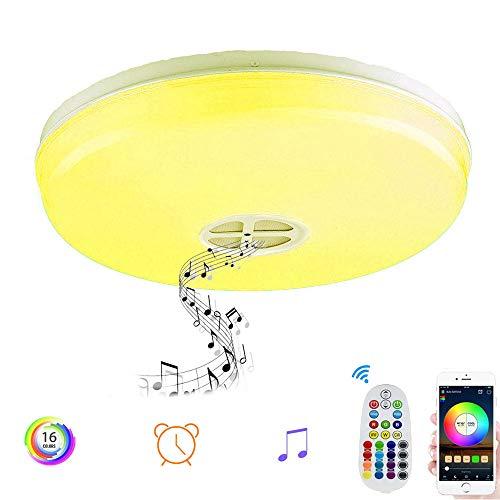 Plafoniera LED RGBW Lámpara de Techo con Altavoz Bluetooth 24W Equivalente a 200W Resistente,Ajustable Luz de RGB Colores,3000k,6500k,Control de APP,Remoto,Temporizador Lámpara