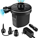 semai Electric Air Pump Portable Quick Fill Air Pump for Inflatable Couch, Air Mattress Bed,Swimming Ring, Inflatable Pool Toys, Electric Inflator/Deflator Air Pump with 3 Nozzles,AC 110-240V/ DC 12V