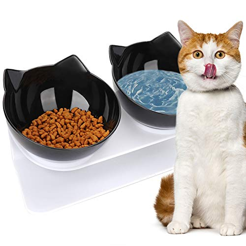 VZATT Ciotole per Gatti, 15 ° Inclinata Doppio Gatto Ciotola con Supporto Rialzato, Ciotola per Cibo e Acqua Antiscivolo Ciotola per Animali Rimovibile per Gatti e Cani di Piccola Taglia - Nero
